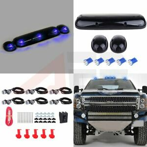 3x Smoke Cover Roof Top Marker Blue T10 Led Fog Lamp For Chevy Gmc Sierra