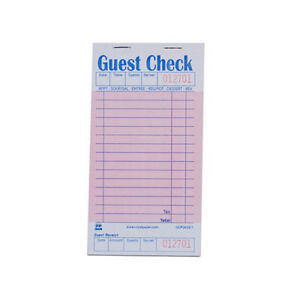 Royal Pink Guest Check Board 1 Part Booked Case Of 50 Books Gcp3632 1