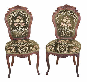 F46159ec Pair Rosewood Antique Victorian Parlor Chairs