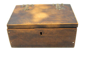 Incredible Vintage Antique Burled Wood 2 5x4x6 Wood Brass Butt Jointed Box
