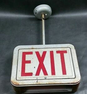 Vintage Metal Lighted Exit Sign Ceiling Or Wall Mount Steampunk Industrial