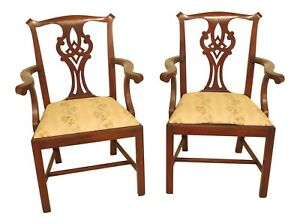 F46134aec Pair Henkel Harris Model 101 Mahogany Chippendale Arm Chairs