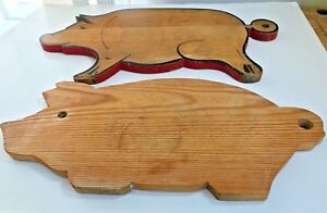 Lot 2 Vintage Primitive Farmhouse Wooden Pig Cutting Boards