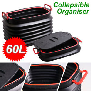 Black Abs Plastic Suv Car Cargo Trash Can Garbage Storage Magic Container 60l