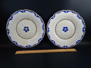 Two Antique Pearlware Creamware Basket Weave Pattern Plates European 18th 19th C