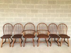 Hunt Country Furniture Set Of 6 Hoop Back Dining Chairs Windsor Chairs