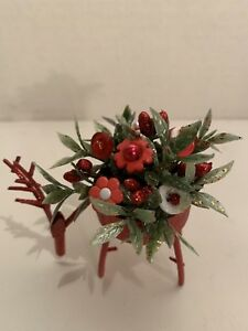 Vtg Christmas Button Bokay Reindeer Prim Rustic Country Farmhouse Decor