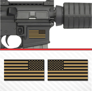 2x American Flag Flat Dark Earth Sticker Vinyl Decal Ar 15 Lower Tactical Fde