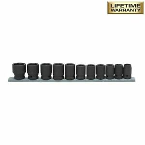 Metric Impact Socket Set Drive Standard Wear Resistances Black 1 2 In 11 Piece