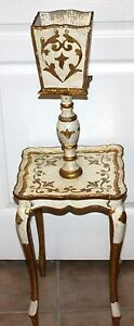 Antique Florentine Italian Wooden Table With Plant Stand