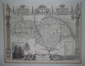 Yorkshire North Riding A Vintage Antique Map From 1848 Thirsk Pickering Richmond