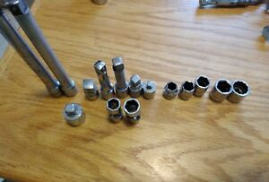S K Tools 7 6 3 8 Drive Ratchet And Lot Of 4 3 8 Drive Sockets 5 Extensions