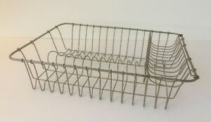 Old Large Wire Dish Drainer With Fold Out Cutlery Basket Kitchen Sink Draining