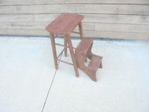 Vintage Wooden Stool With Pull Out Steps Flower Plant Stand Garden Decor