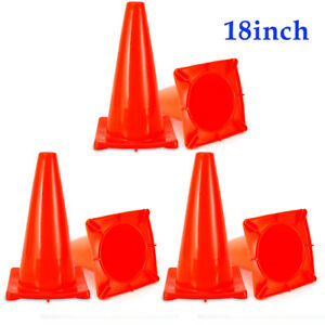 6 Pack 18 Fluorescent Red Road Safety Cones Traffic Cone Emergency Construction