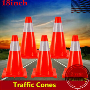 5pcs 18 Red Road Traffic Cones Reflective Parking Construction Safety Cone