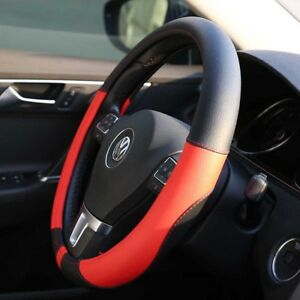 15 38cm Car Steering Wheel Cover Non Slip Sweat Breathable Leather Black