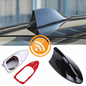 Black Car Shark Fin Antenna Decor Roof Aerial With Radio Signal Fm Am Universal