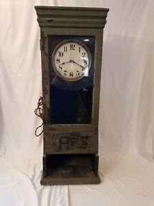 Antique 1924 Itr International Time Recorder Oak Time Clock Early Industrial Old