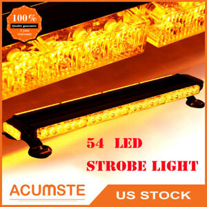 Amber Yellow 54 Led Emergency Warning Strobe Lights Bars Car Dash Grille Tow Us