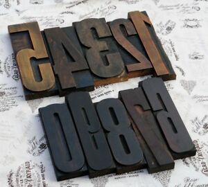 Giant 0 9 Mixed Number Set 8 86 Letterpress Wood Printing Blocks Type Rare