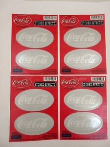 4 Sets of 2 - 8 Coca-Cola Stickers w Etched Glass Effect Translucent Coke Decals