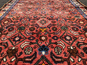 3x10 Persian Runner Rug Hand Knotted Wool Red Blue Coral Antique Oriental 4x10
