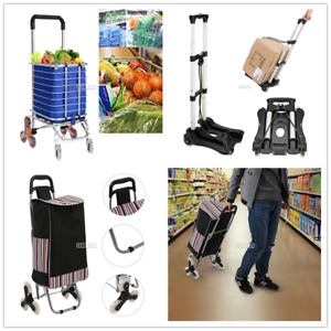 Folding Shopping Cart Large Size Basket W Wheels For Laundry Grocery Travel Us