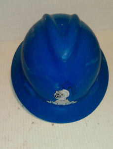 Msa Blue Plastic Full Brim Hard Hat With Ratchet Adjustment Medium Size