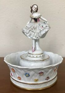 Antique Dresden Porcelain Lace Woman Ballerina Figurine Hatpin Holder Bowl As Is