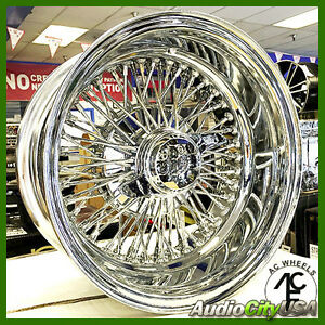 14x6 72 Cross Lace Wire Wheel All Accessories Fit Cadillac Impala