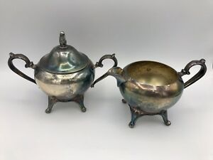 Set Of Wm A Rogers Silver Plated Creamer And Sugar Bowl William Rogers