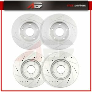 Front Rear Brake Discs Rotors For Honda Accord 2003 2007 Drilled Slotted