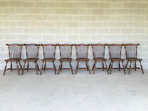 Frederick Duckloe Colonial Reproductions Set Of 8 Cherry Windsor Side Chairs