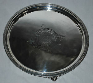 Antique Sterling Silver Engraved Footed Tray Salver By John C Moore 1845 1851