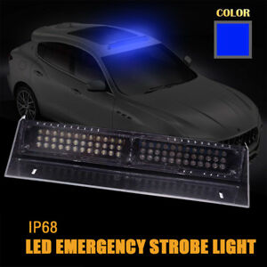 Dash Light 68 Blue Led Emergency Car Warning Strobe Flash Brighter 12v 24v