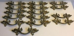 Antique French Provincial Complete Set Of 11 Dresser And 4 Night Stand Pulls