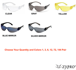 Safety Glasses Eyewear Work Sports Eye Protective Clear Yellow Amber Grey Lot