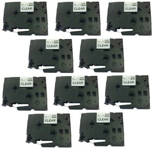 10pk Tz131 Tze131 Black On Clear Label Tape Compatible Brother P touch 12mm X 8m