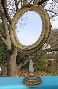 Antique Vintage Vanity Mirror Art Noveau French Boudoir Adjustable 21 Inch Tall
