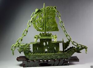 Chinese Hand Carved 100 Natural Jade Dragon Incense Statue Dragon Boat