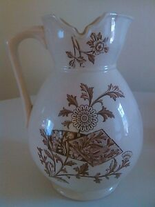 Ca 1870 Unmarked Aesthetic Movement Brown Transferware Pitcher
