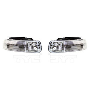 Fits 1999 2002 Chevy Silverado 1500 Headlight Pair Driver Passenger Side Capa