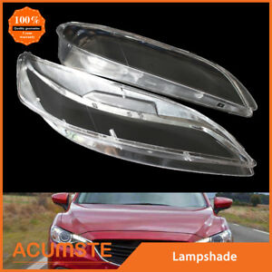 Pair For Mazda 6 2003 2008 Replacement Headlight Headlamp Lens Cover Clear Gloss