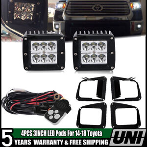 Pair Led Fog Light Kit W 3 Midnight Black Led Lights For 14 17 Toyota Tundra