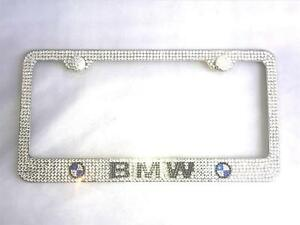 New Luxury Crystai Ice Out Logo License Plate Holder Cover Frame For Bmw
