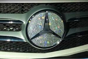 New Luxury Crystai Ice Out Front Grille Logo Badge Insert Bling Mercedes Benz