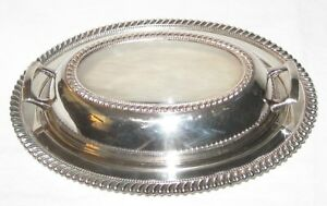 Vintage Silverplate Oval Vegetable Casserole Serving Bowl Carson Pirie Scott
