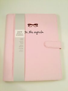 Eccolo 2019 Agenda Planner Deluxe Pink Weekly Monthly 8x10 Calendar Faux Leather