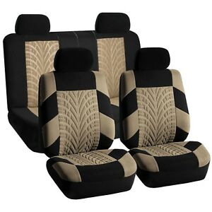 Universal Seat Covers For Auto Car Suv Van Beige Black Full Interior Set